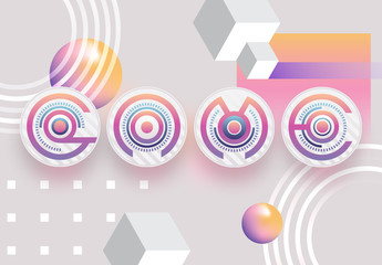 Colorful Abstract Circular Alphabet and Number Typography Set