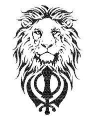 Khanda is the most significant symbol of Sikhism, decorated with a Lion with a long mane, on a white background, isolated, drawing for tattoo
