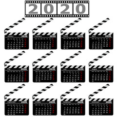Calendar for 2020, movie clapper board on a white background