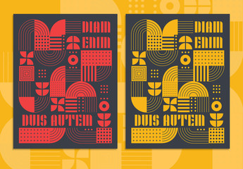 Retro Poster Layout with Geometric Shape Compositions