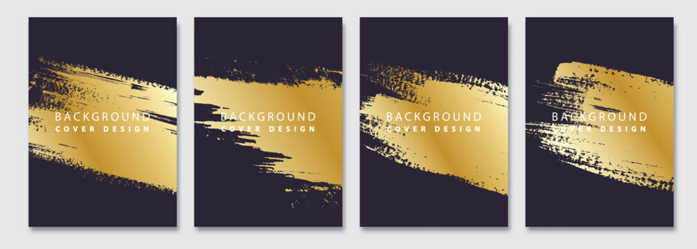 Cover templates set. Vector golden paint stain abstract background. Flyer, presentation, brochure, banner, poster design.