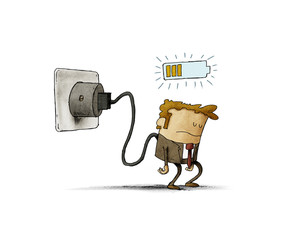 Illustration of a tired man plugged into the mains, he is charging the battery. isolated