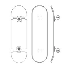 Vector flat cartoon line set of skateboard different sides isolated on white background