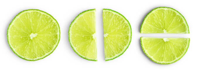 Lime slices isolated Wall mural