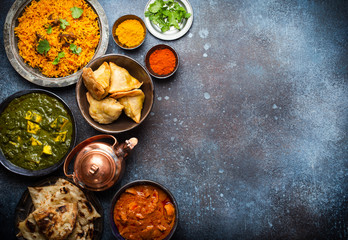 Wall Mural - Authentic Indian dishes and snacks