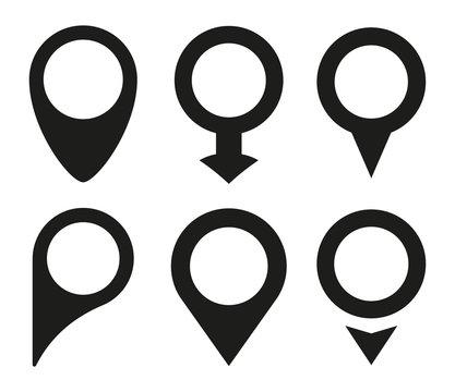 Map pin icon set. Vector