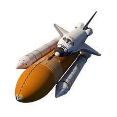 Fotobehang - Space Shuttle Flying Isolated On White Background