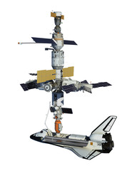 Fotobehang - Space Shuttle And Space Station Isolated On White Background
