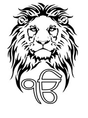 Sign  Ek Onkar is the most significant symbol of Sikhism, decorated with a Lion with a long mane, on a white background, isolated, drawing for tattoo