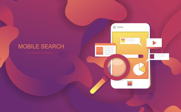 Mobile search Fluid Shapes abstract Background for banners presentations,landing page and template. Vector desig
