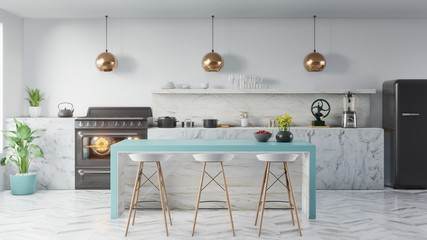 kitchen interior concept .3d render Fototapete