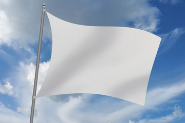 3D Illustration flag reference image with flagpole waving with sky in the background