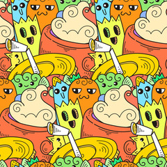 Doodle hand-drawn cartoon with smiles and taste, coffee shop theme seamless pattern