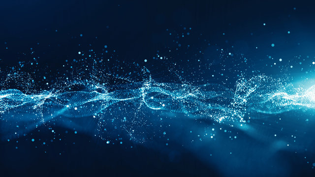 Abstract blue color digital particles wave with bokeh and light background