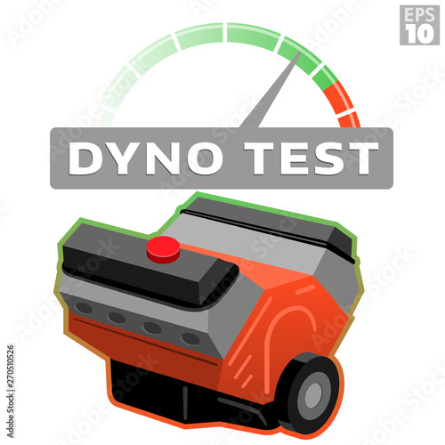 Dyno test car engine block with RPM tachometer measuring