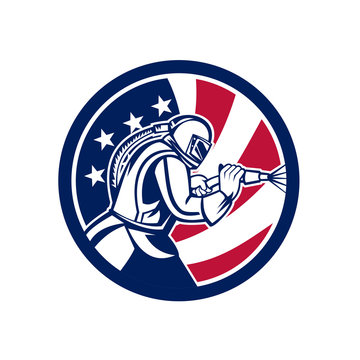 Mascot icon illustration of an American sandblaster or sand blaster abrasive blasting viewed from side set inside circle with USA stars and stripes flag on isolated background in retro style.