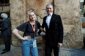 "Actor Brie Larson poses for a photo with Walt Disney's Chief Executive Officer (CEO) Bob Iger as ""Star Wars: Galaxy's Edge"" opens at Disneyland Park in Anaheim"