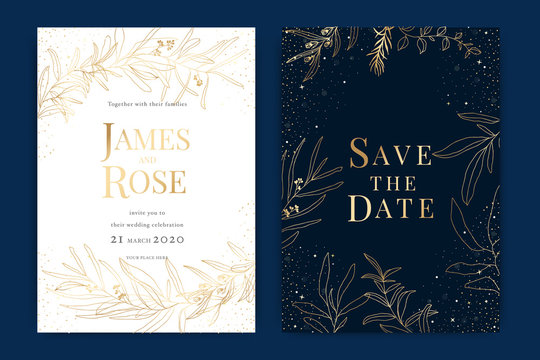 Navy blue Wedding Invitation, floral invite thank you, rsvp modern card Design in Golden Text and  leaf greenery  branches decorative Vector elegant rustic template
