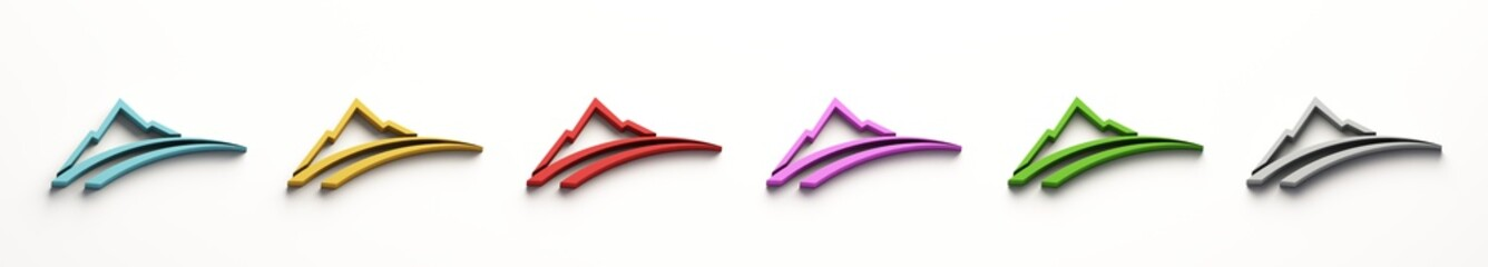Set of Mountain roads logo. 3D Render illustration