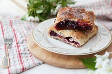 cherry homemade pie. cherry strudel homemade baking. dessert. traditional cuisine.