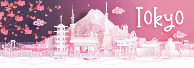 Fototapete - Autumn season with falling Sakura flower and Tokyo city skyline, Japan and world famous landmarks in paper cut style vector illustration
