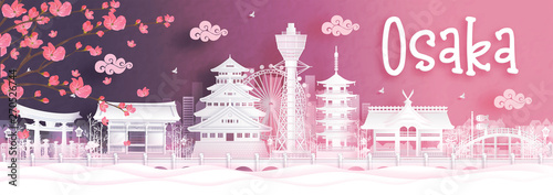Fototapete Panorama view of Osaka city skyline with world famous landmarks of Japan in paper cut style vector illustration.