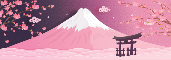 Fototapete - Autumn season with falling Sakura flower and Fuji mountain in Japan world famous landmarks in paper cut style vector illustration