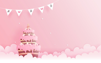Birthday card in paper cut style vector illustration.
