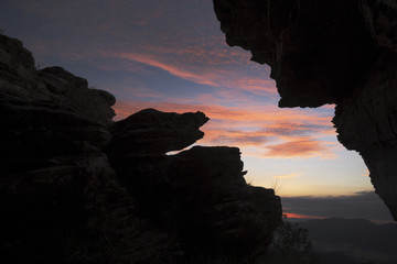 Stones silhouettes at sunrise in Brazil