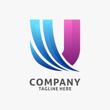 Letter U modern logo design