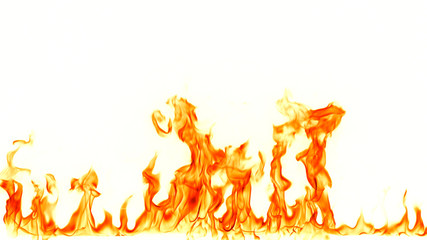 Deurstickers Vuur Fire flames isolated on white background.
