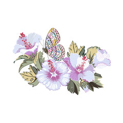 Keuken foto achterwand Grafische Prints Floral wreath of hibiscus flowers and tropical leaves and butterfly.