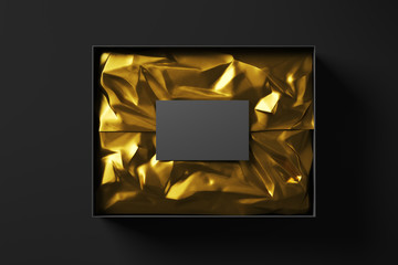 Open black realistic cardboard box with golden wrapping paper and business card. The concept of a business gift. Mock up. Top view. 3d rendering