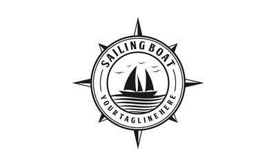 Sailing boat with ocean wave badge logo