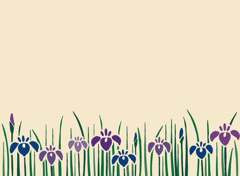Japanese traditional flower iris design background