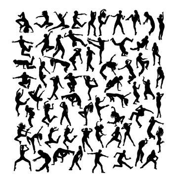 Break dancer Silhouettes, art vector design