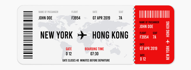 Realistic airline ticket design with passenger name. Vector illustration Wall mural