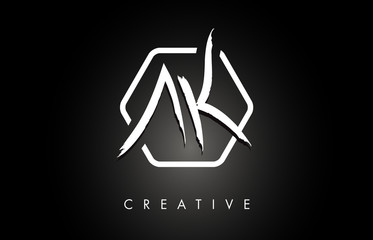 AK A K Brushed Letter Logo Design with Creative Brush Lettering Texture and Hexagonal Shape