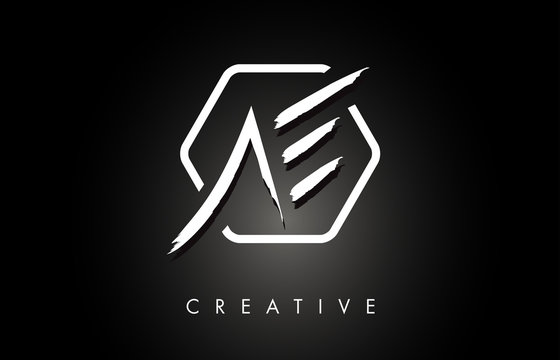 AE A E Brushed Letter Logo Design with Creative Brush Lettering Texture and Hexagonal Shape