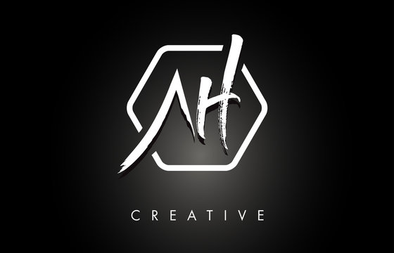 AH A H Brushed Letter Logo Design with Creative Brush Lettering Texture and Hexagonal Shape