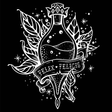 Witch and magic flask potion with crown,branches with leaves, decorative tape for your inscription.Vector illustration.Line art potion of good luck.