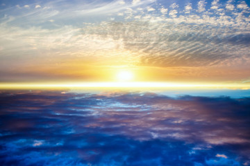 Beautiful heavenly landscape with the sun in the clouds  .