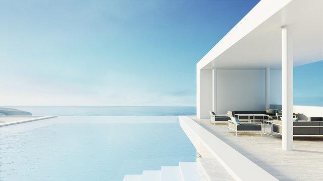 beach lounge outdoor pool & luxury interior/ 3D rendering