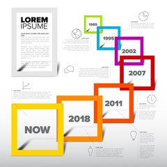 Infographic light timeline report template with square frames