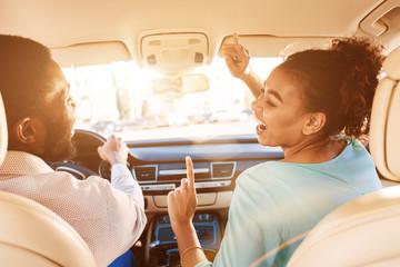 Enjoy Journey. Couple Listening Music In Car