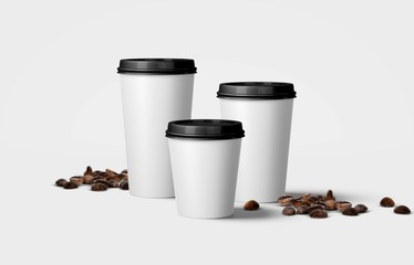 3d paper coffee cups, large, medium and small