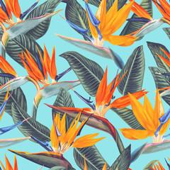 ,Modèle sans couture avec des fleurs tropicales et des feuilles de Strelitzia Reginae. Style réaliste, dessiné à la main, vecteur, couleurs vives. Arrière-plan pour les impressions, le tissu, les papiers peints, le papier d& 39 emballage.