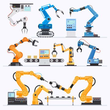 Robotic arm Industrial. Vector illustrations.