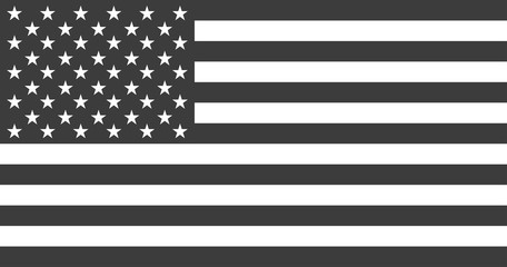 Flag USA or american. Flag american black and white colored isolated. Vector