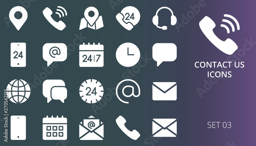 Contact us icons set  Set of contact me and communication solid